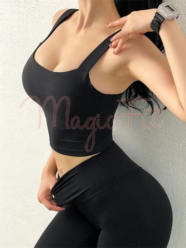 Anti-Vibration Sports Bra Top with Removable Pads in Black Colour