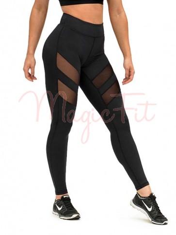 Active Mesh Panel Leggings - Black