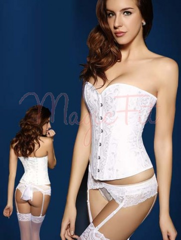 Perfect White Brocade Over Bust Waist Slimming Bridal Corset with 14 Steel Bones