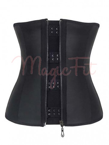 Sports Safe Raw Latex Waist Trainer with Zipper - 9 Spiral Steel Bones