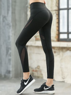 Active Mesh Panel Sports Leggings Elite Edition - Black Side