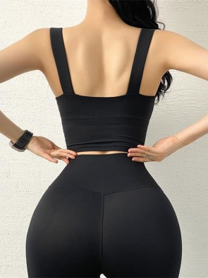 Anti-Vibration Sports Bra Top with Removable Pads in Black