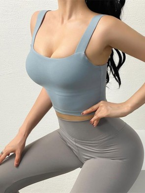 Anti-Vibration Sports Bra Top with Removable Pads in Blue Jean Colour