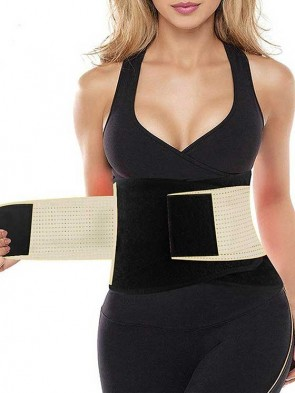 Breathable Hourglass Waist Trainer Stomach Wrapping Belt - Beige