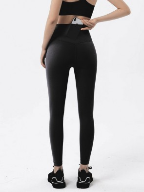 High Performance Seamless Sports Leggings with Back Pocket in Black