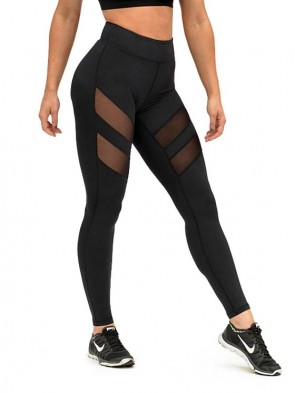 Active Mesh Panel Leggings - Black