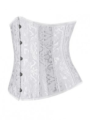 Perfect White Brocade Underbust Waist Slimming Bridal Corset with 14 Steel Bones