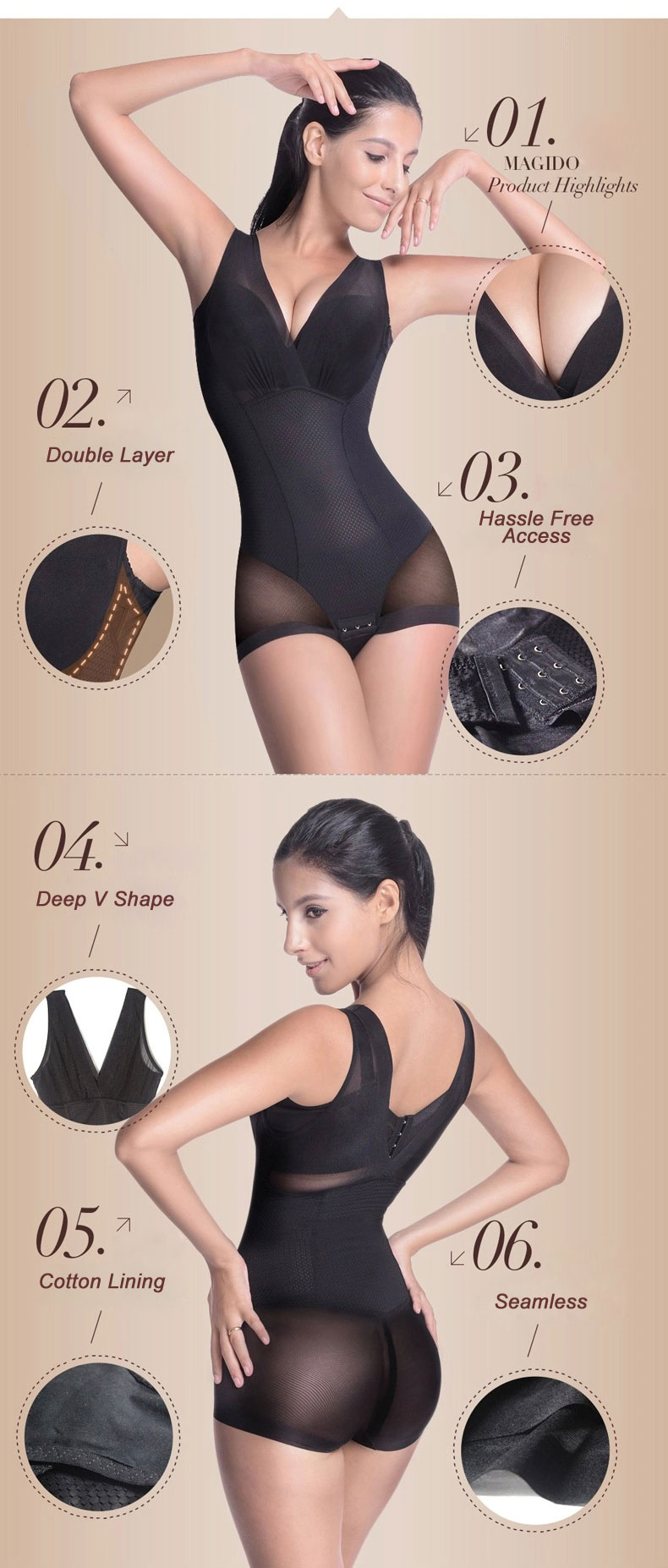 3-in-1 Award Winning Ultra Tummy Flattening Super Waist Slimmer Bust Lifting Seamless One Piece Bodysuit 4