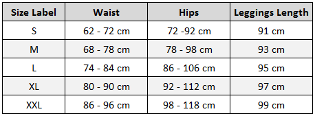 Active Mesh Panel Leggings Size Chart