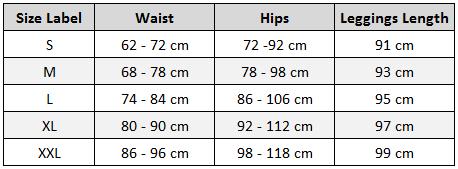 Active Mesh Panel Leggings Size Chart
