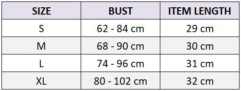 sports bra size chart
