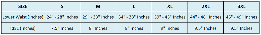 bum lifter size chart