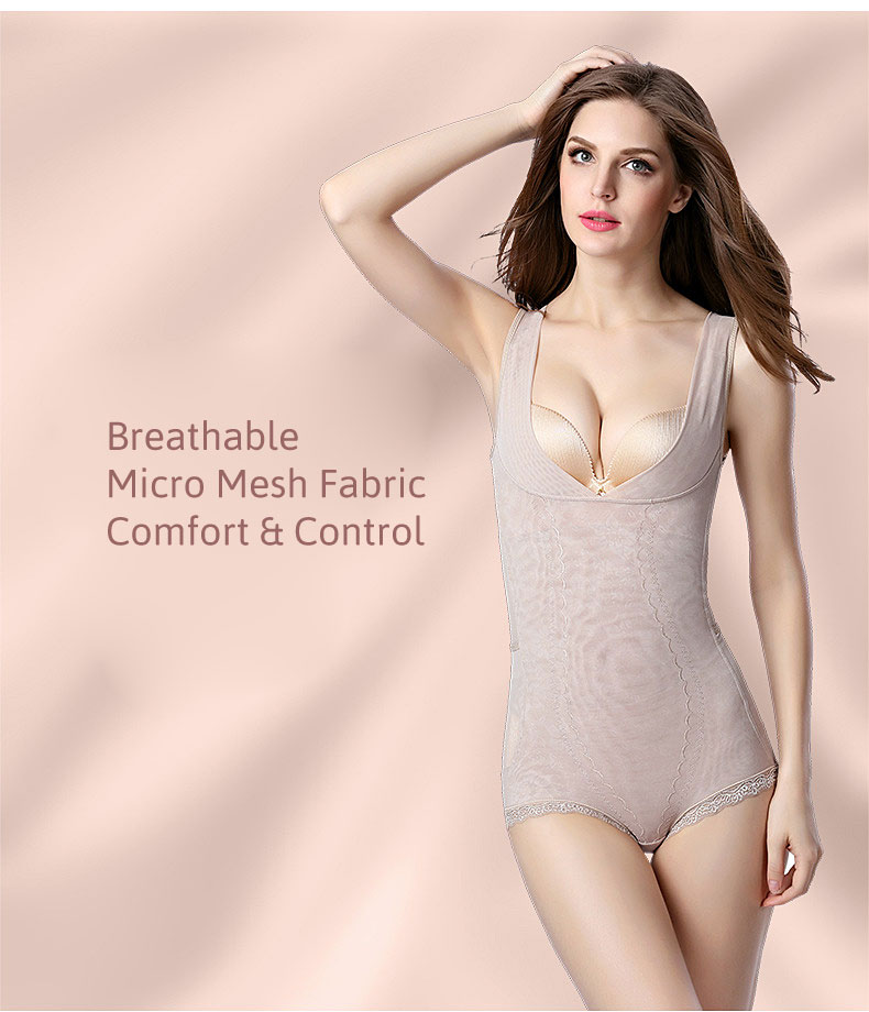 3 in 1 Micro Mesh Waist Slimmer Push-Up Bodysuit