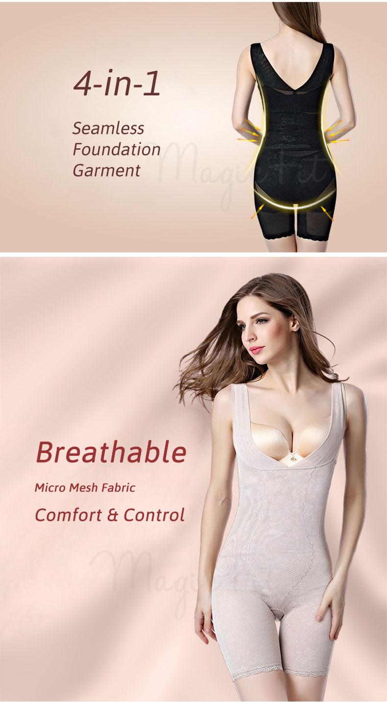 waist slimmer bodysuit micro mesh black