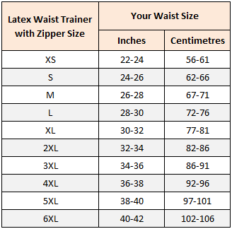 latex waist trainer with zipper size chart