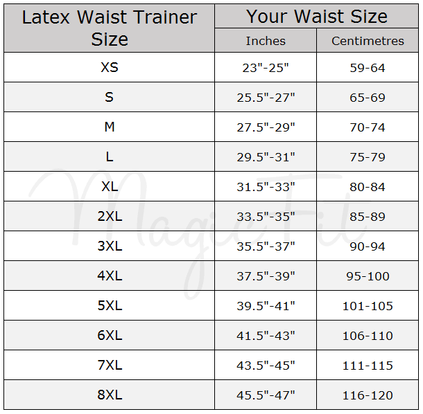 latex waist trainer size chart by MagicFit