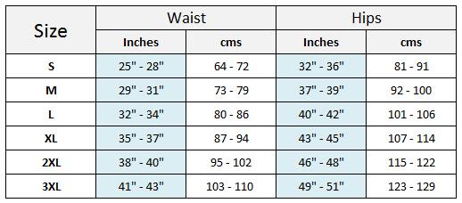 power knee pants size chart
